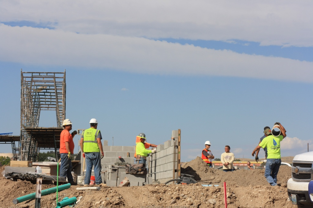 Concrete block wall installation has started at the site of the new Riverton Justice Center for Fremont County . (Ernie Over photo)