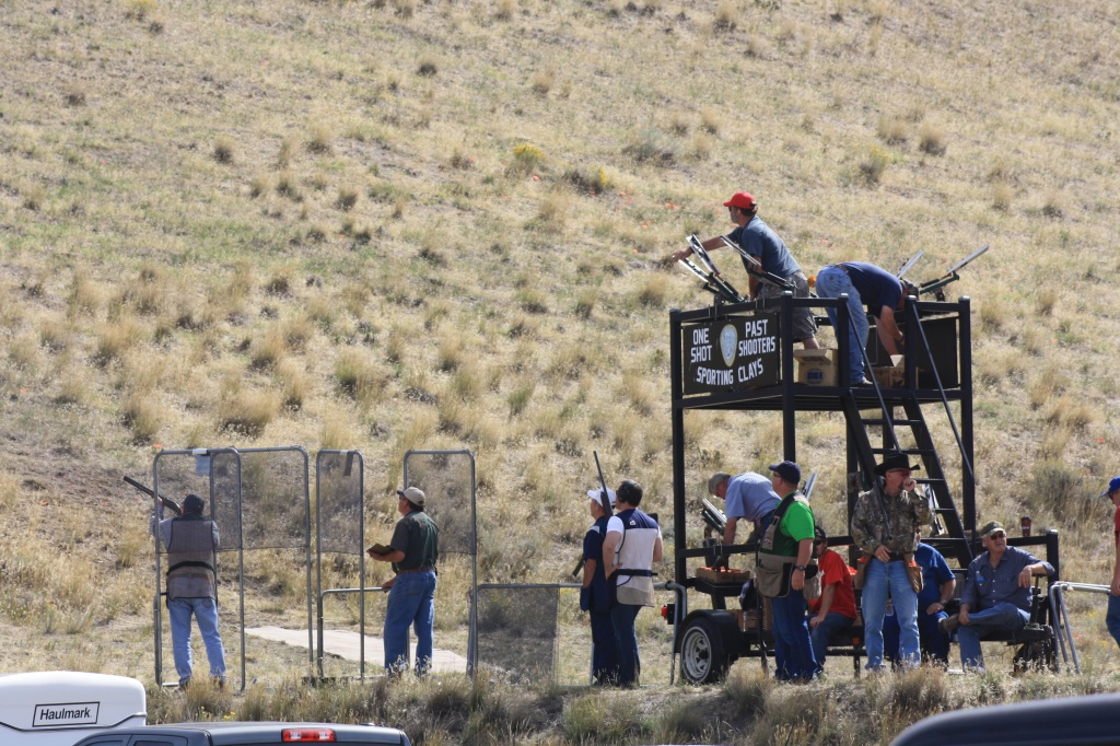 The Past Shooters lined up for the Shooting Clay competition this morning at the Lander Valley Sportsman's Range. (Ernie Over photo)