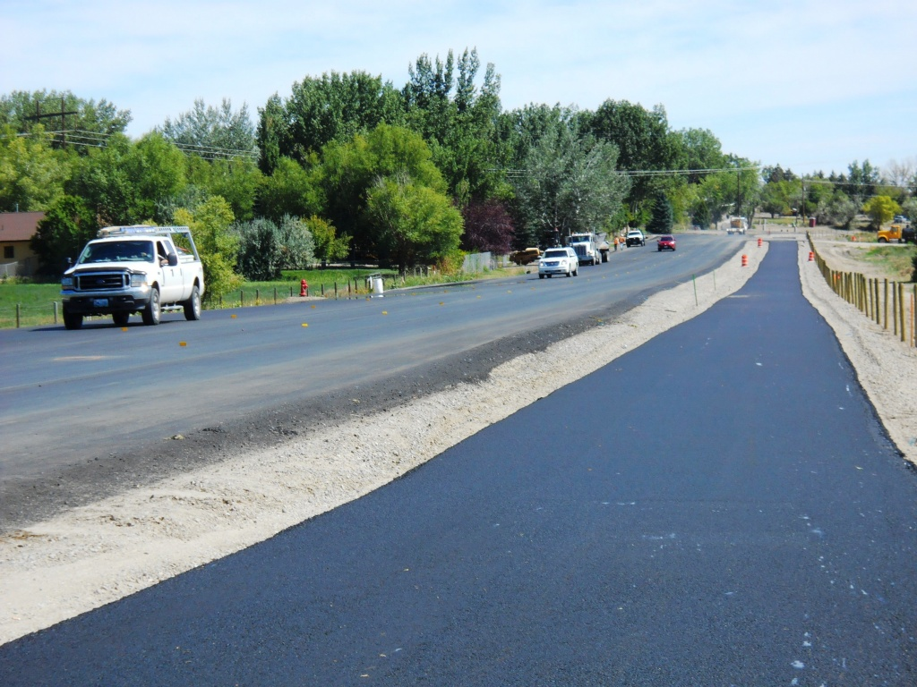 The bike path along the improved section of Riverview Road has been paved. (WYDOT)