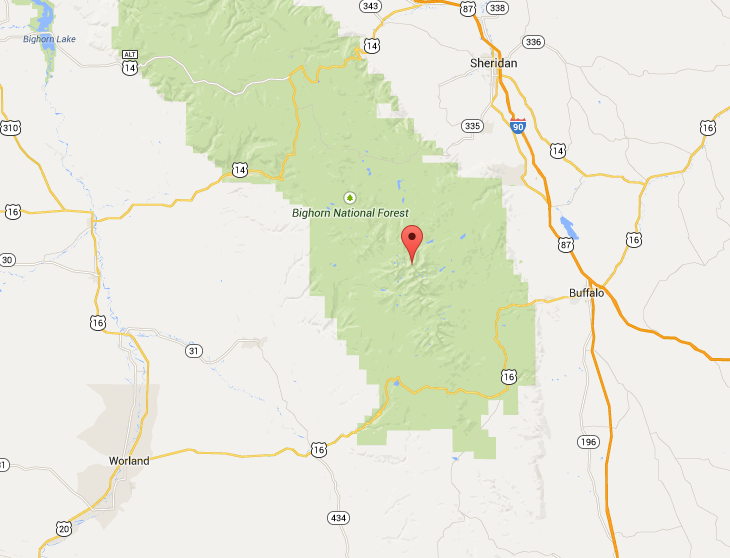 Google map indicating the location of Black Tooth Mountain where the couple was expected to camp and hike.