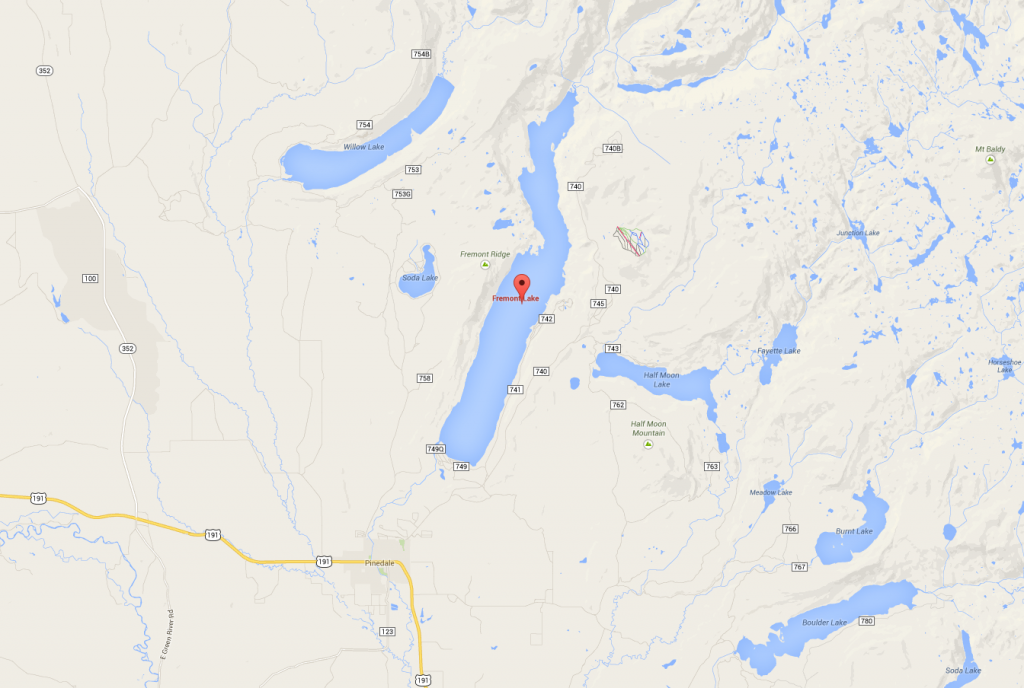 A Google map showing the location of Fremont Lake.