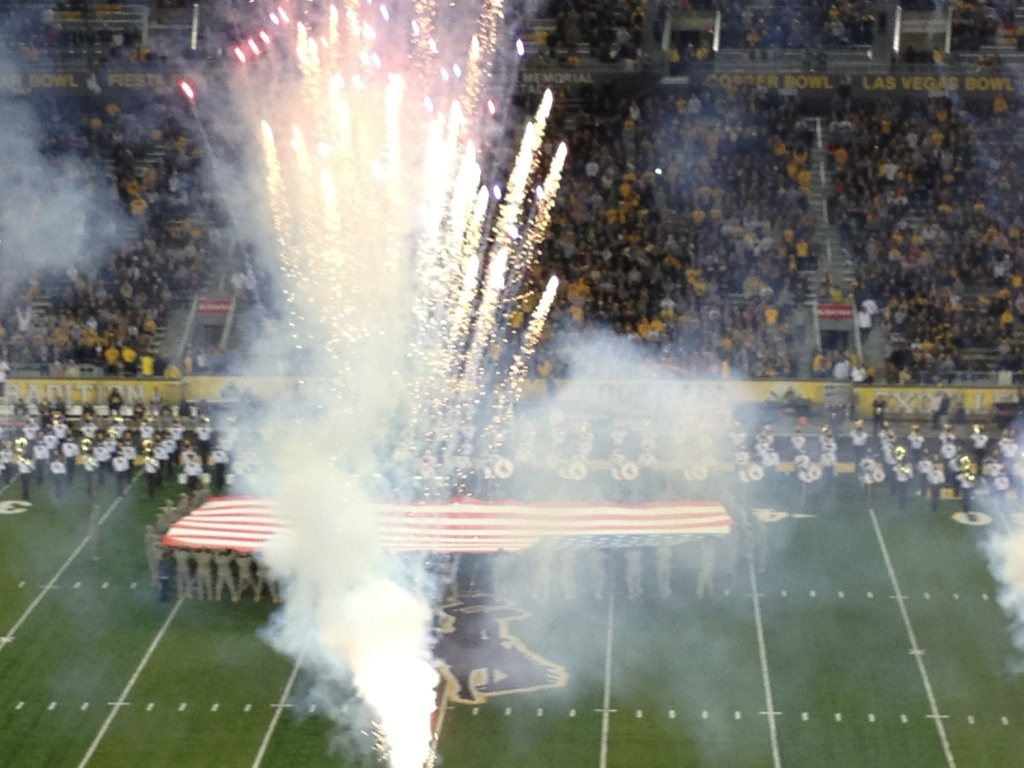 There were fireworks on the field at half-time in a salute to the men and women of the military service, past and present, and fireworks at the end of the game when Wyoming came from behind and scored the winning points with only 58 seconds remaining to beat Air Force 17-13. (Ernie Over photo)