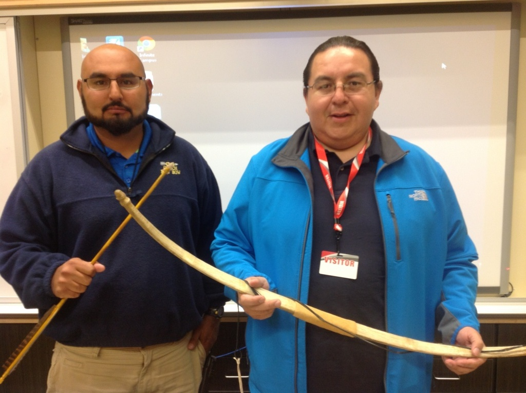 The art of making a bow from a rams horn was explained to Lander Middle School students of Mr. Buddy Redbow, right, by Rich Singer. (Marty Conrad photo)