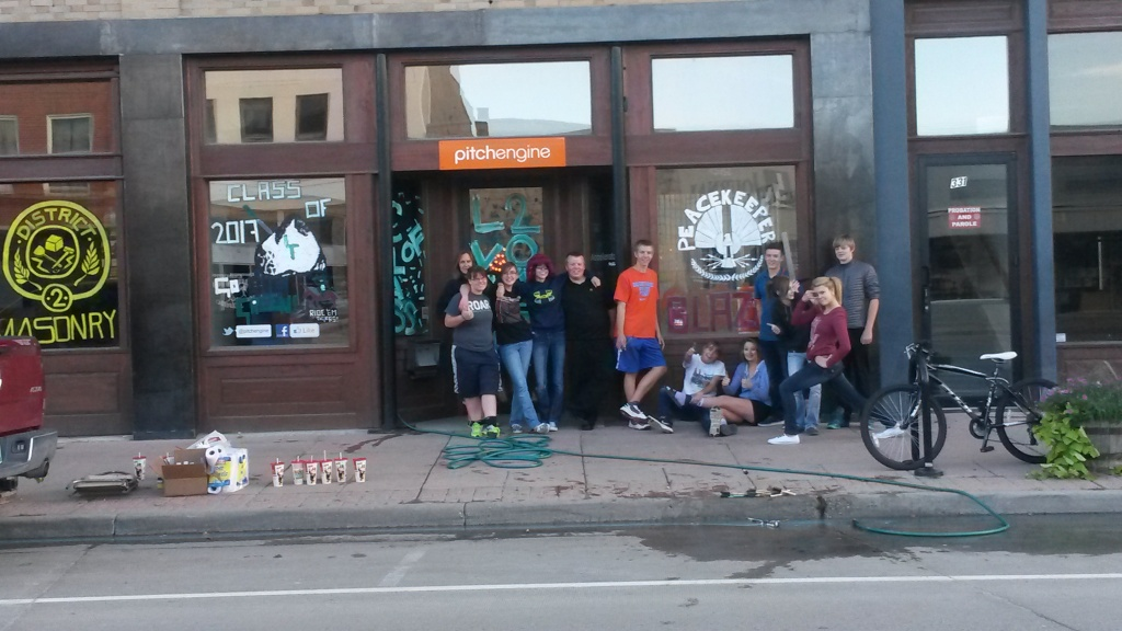 Crew of LVHS 10th graders decorating PitchEngine's windows this weekend.