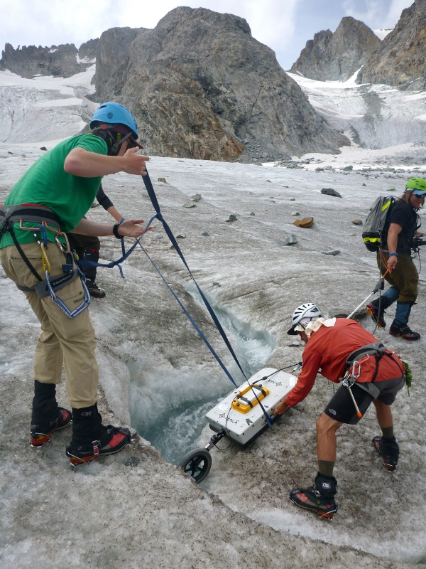 Working on a glacier during the study. (Courtesy Jackie Klancher)
