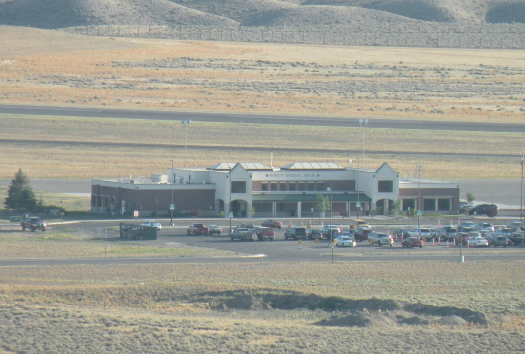 The main terminal building at Riverton Regional Airport. Photo taken from Cloud Kisser III hot air balloon by Ernie Over.