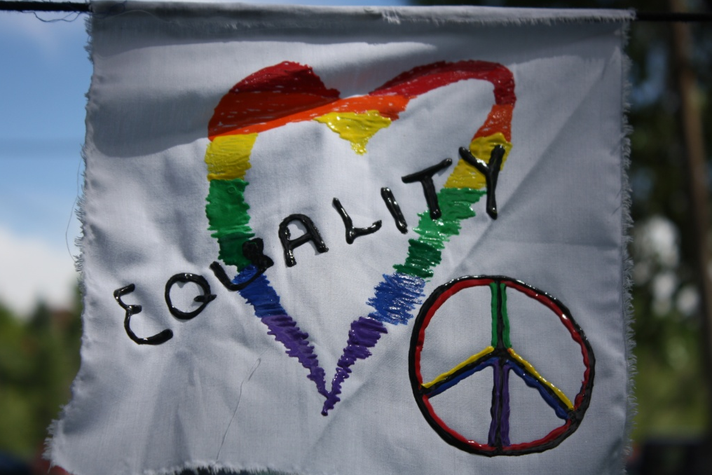Prayer flag from a Pride Day event in Lander earlier this year.