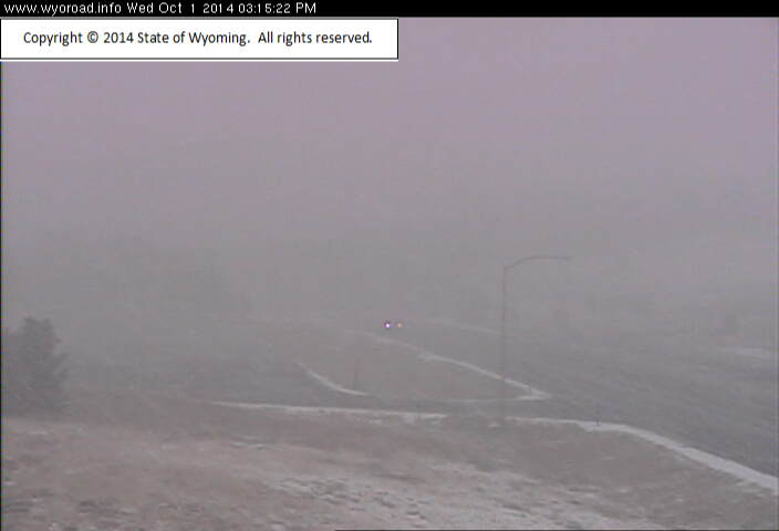 The WYDOT Webcam image from the Louis Lake Parking Lot on Highway 28 at 3:15 p.m. (WYDOT)