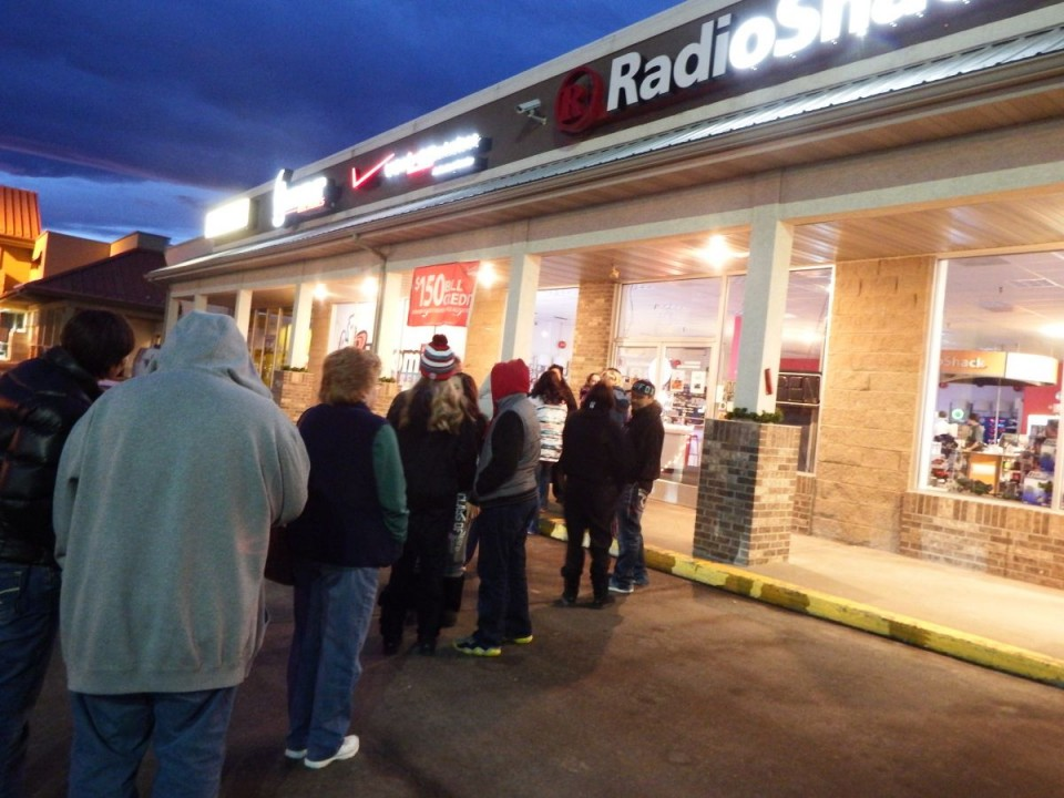 Several dozen folks were in line, some having been there as early at 5:45, to get bargains at Hammer Electronic's Radio Shack in Riverton on Black Friday. (File Photo)