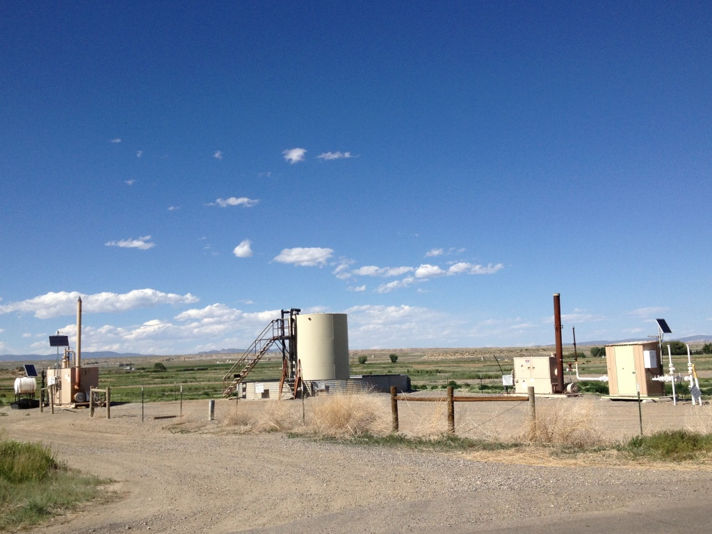 An Encana production natural gas well in the East Pavillion field in Fremont County.