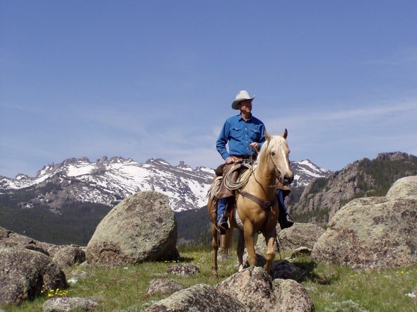 Jim Allen sat astride his horse in Dickinson Park near the location of his family's dude ranch in the Shoshone National Forest in this file photo. Allen won election to HD33 in Tuesday's election.