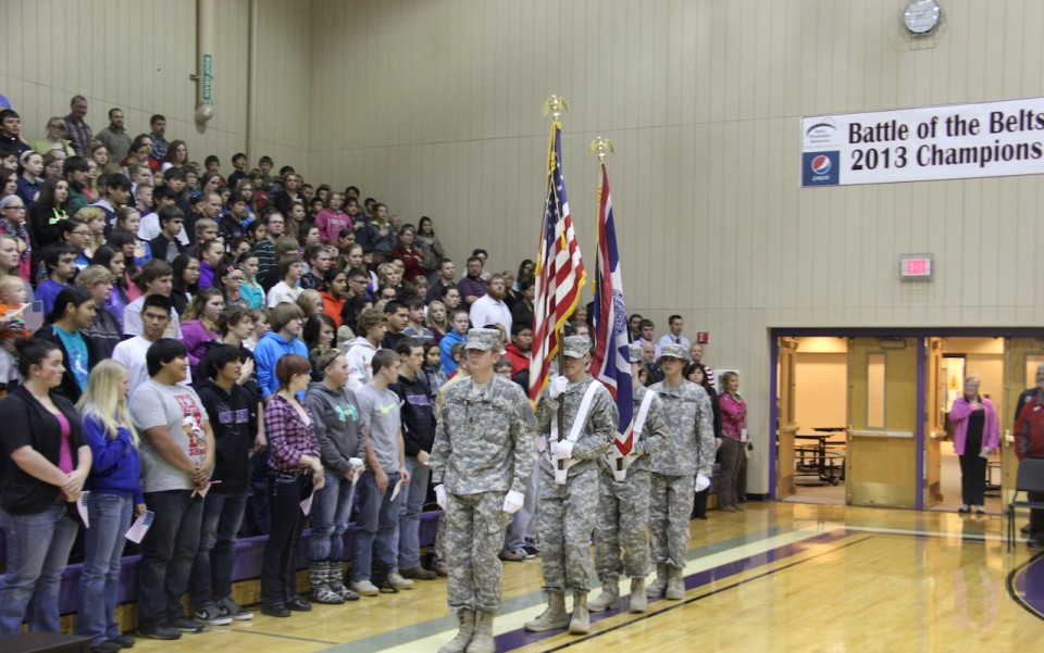 The color guard from Wind River High School entered the gymnasium to begin the program. (WRHS photo)