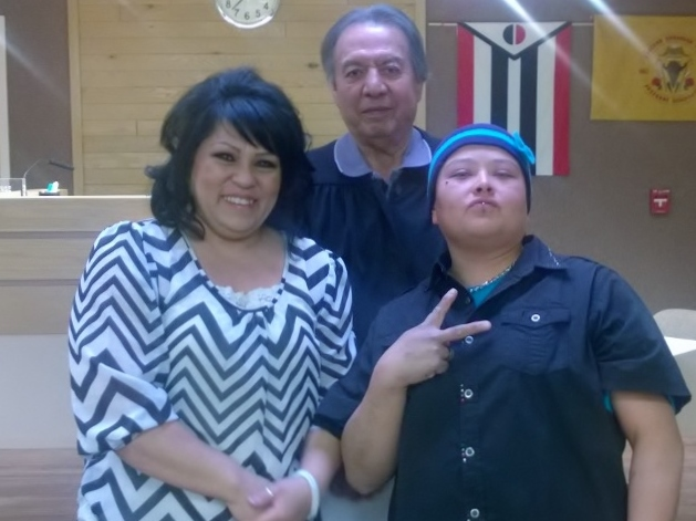 Saun and Renee Allen were the first same-sex couple to be married at the Shoshone and Arapaho Tribal Court. Officiating was Tribal Judge John St. Clair. (Photo submitted by Marina Barnes)