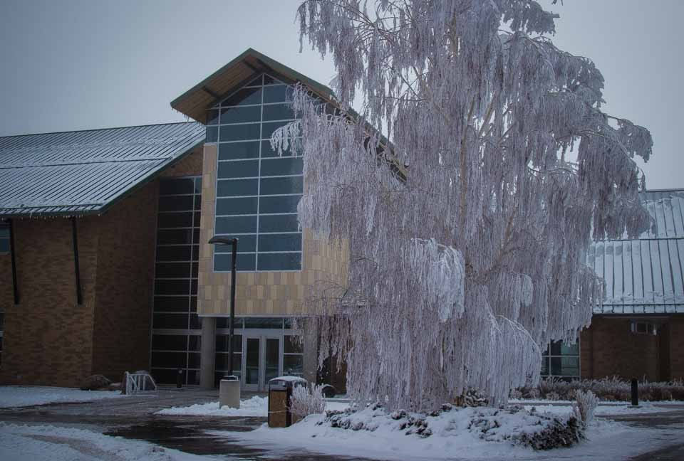 CWC Health and Science Center winter scene. (CWC Photo by Alysa Granger)