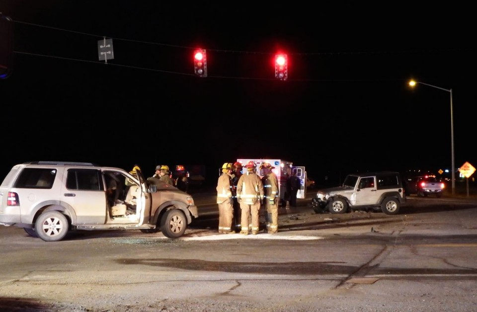 Highway 789 and Rendezvous Road intersection where the two vehicle crash occurred.