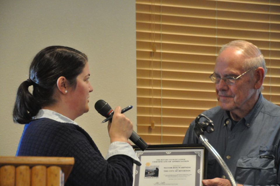 Rotary Club of Lander President Staci Lancaster presented a Certificate of Appreciation to Riverton Mayor Ron Warpness at the club's meeting on Wednesday for Riverton's donation to the Lander Community and Convention Center. (Photo by Ken Richardson)