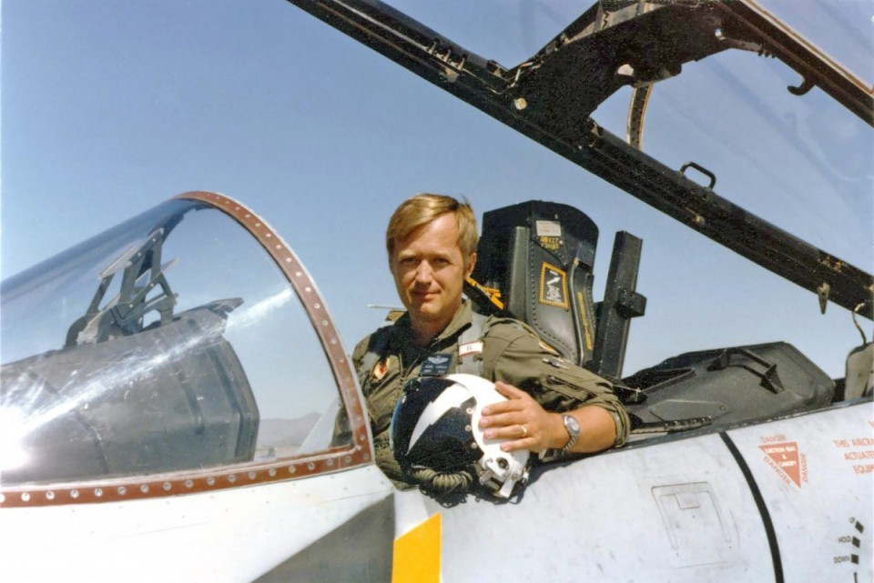Glen Larson in the cockpit of his McDonnell Douglas F-4 Phantom during the Vietnam War in 1972.