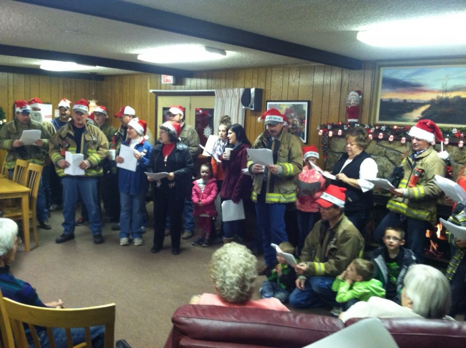 Firefighters and their families went caroling this weekend in Riverton to appreciative audiences at several health care facilities. (RFD photo)