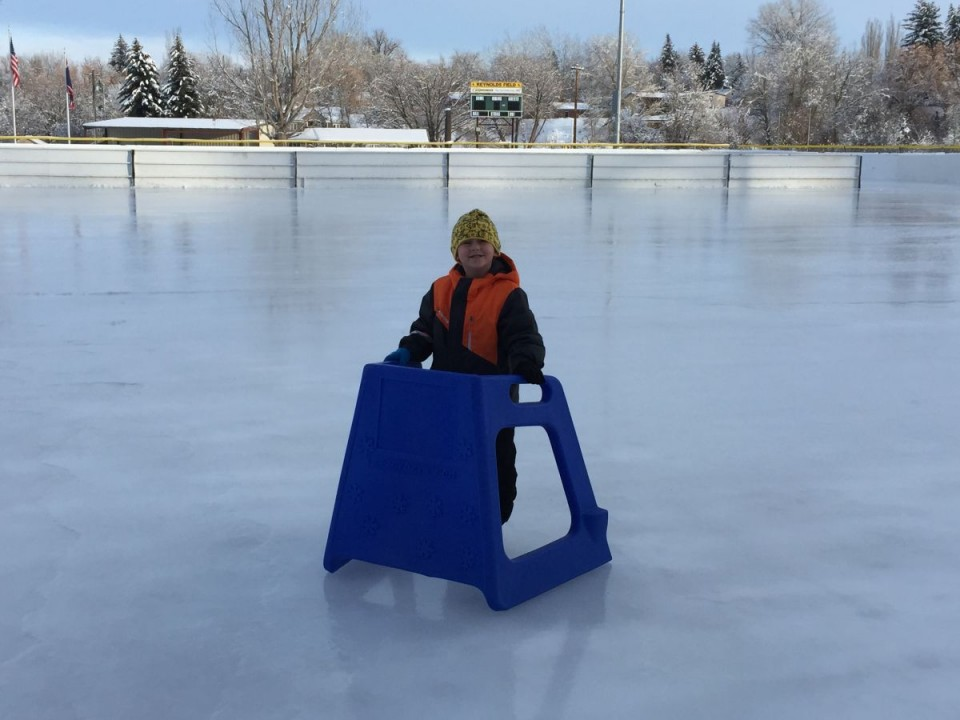 5-year-old Trevor Eckhardt got to preview the ice this afternoon.