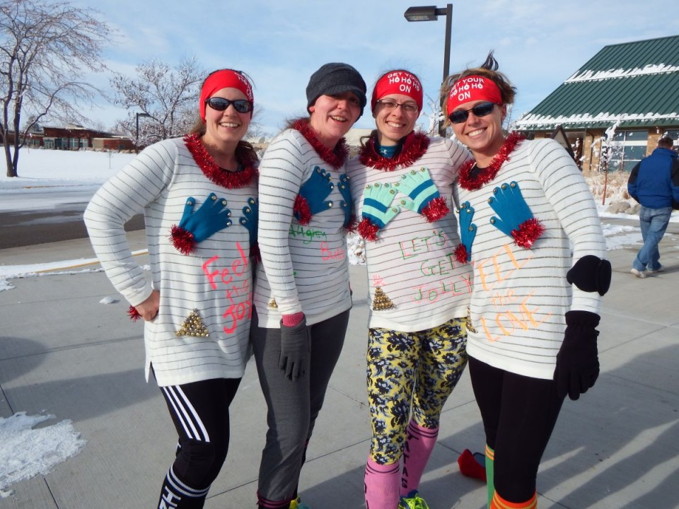The Team of Kelli Gard, Beth Howell, Sarah Remacle and Trai Helton showed off their Ugly Sweaters at the race's conclusion.