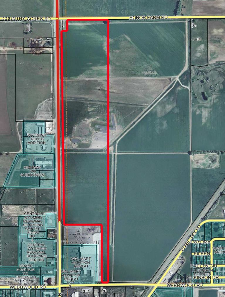 The 85 acre parcel approved to be auction is outlined in red adjacent to Highway 26/789. On the top of the photo is Honor Farm Road, on the bottom is Webbwood Road. (IDEA, Inc. photo)