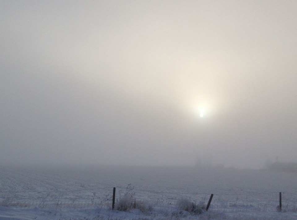 Fog is hanging around today in the Wind River Basin.