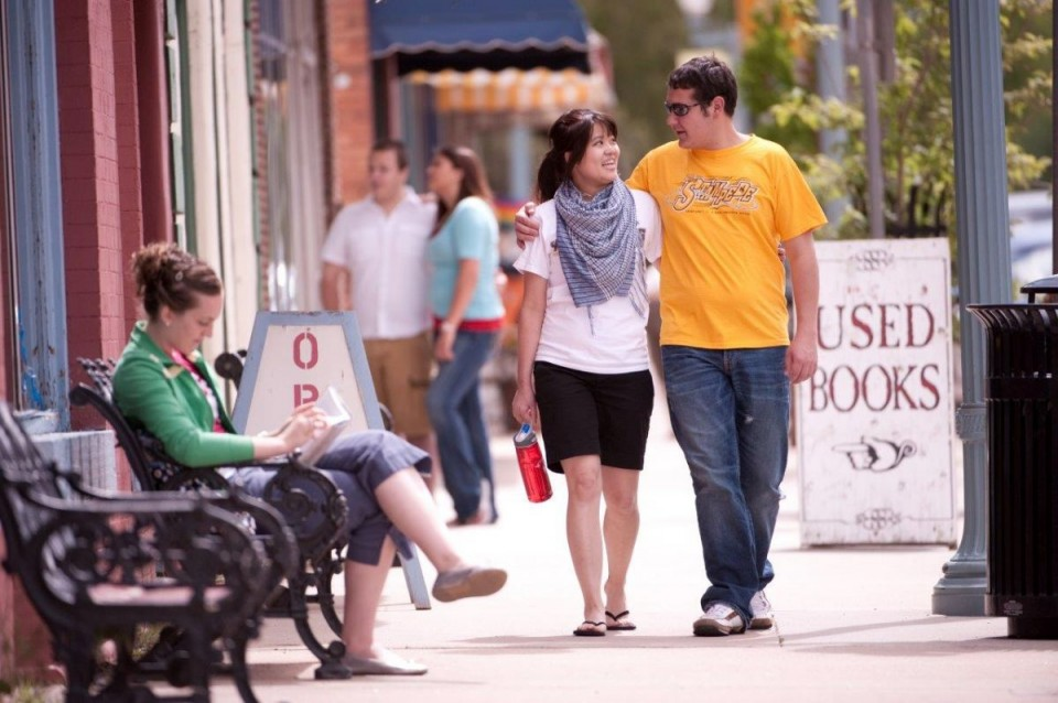 "UW students enjoy historic downtown Laramie. The city ranks No. 6 on WalletHub.com's list of ""2014's Best and Worst College Cities and Towns in America."" (UW Photo)"