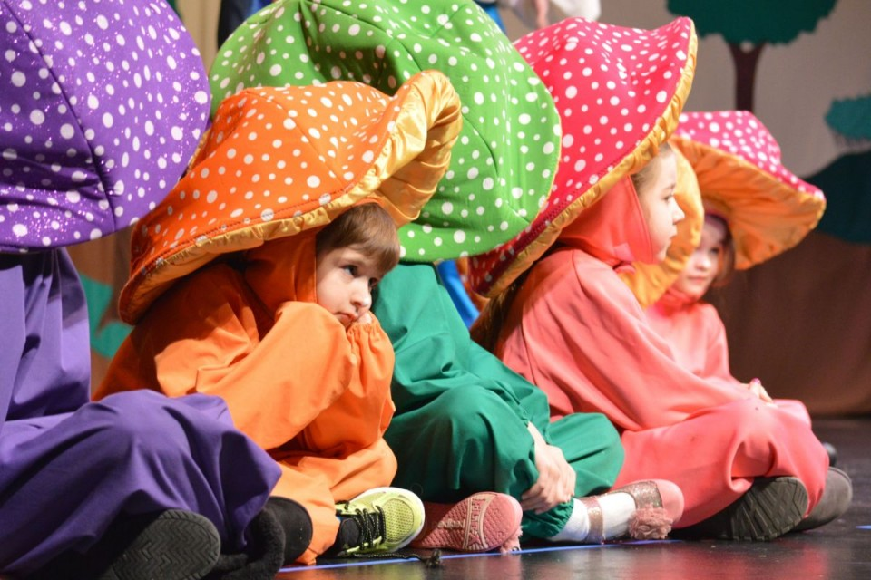 One of the cute mushrooms in the forest during the Missoula Children's Theatre Production of Rapunzel held Saturday at CWC. (Kristen Kluck photo)