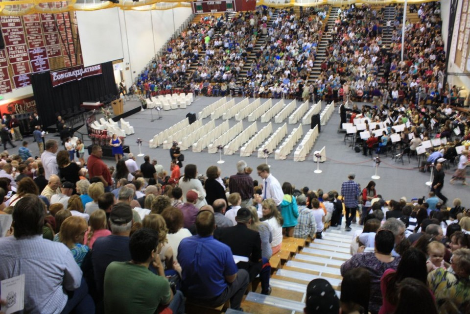 Wolverine Gym at RHS is scheduled for a new paint and bleacher refinishing this summer. The gym is pictured here in this file photo from last springs RHS graduation ceremony.