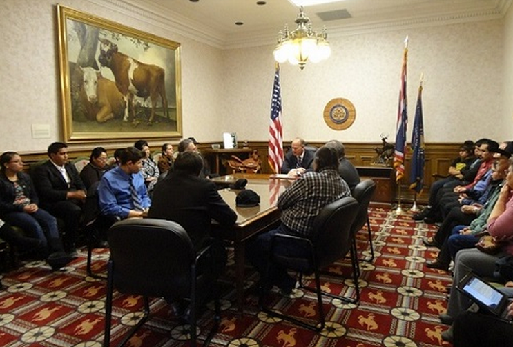 The delegation from the Wind River Reservation met with Governor Mead in his formal office during Native Advocacy Days during the Wyoming Legislature's current session.